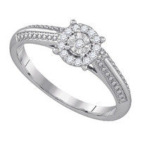Diamond Fashion Ring in 10k White Gold 0.1 ctw