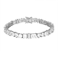 Princess Cut Solitaire Baguette White Tone Tennis Bracelet