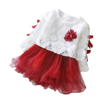 Baby girls clothes Skirt set Autumn Infant Baby Kids Girls Party Lace Tutu Princess Clothes Outfits drop shipping