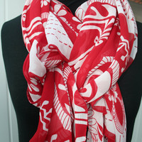 Chiffon Scarf RedWhite Flower Print Super Light Weight by PIYOYO