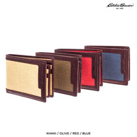 Eddie Bauer Men's Bi-Fold Canvas & Genuine Leather Wallet - Assorted Colors