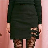 Black Buckled Skirt
