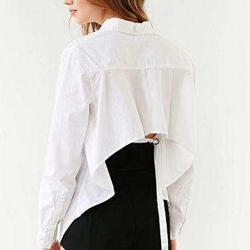 White Sleeve Asymmetrical Blouse