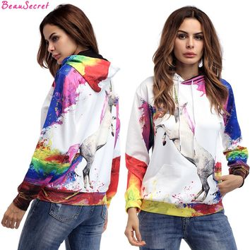 3D Print Hoodies Women Unicorn Tie Dye Sweatshirt Couple Hoody Bts Autumn & Winter Clothes