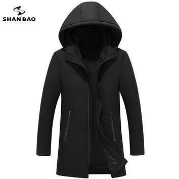 SHAN BAO Men's long color hooded down jacket 2017 winter thickening warm zipper pocket business leisure parka coat black green