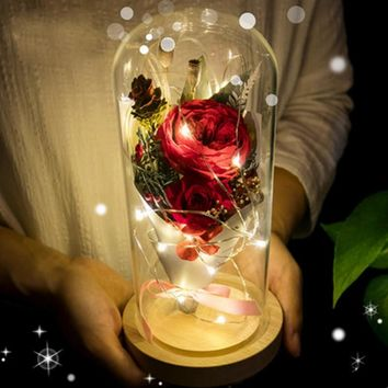 LED Flashing Luminous Artificial Rose with Vase