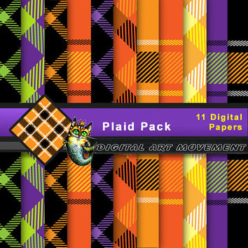 Fall Plaid Seamless Patterns,Plaid Digital Papers ,Fall Colors Paid Gift Wrap, Plaid Scrapbook, Fall Plaid Blog Background, Plaid Wallpaper