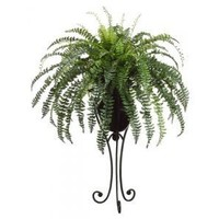 "57"" Artificial Fishtail Green Fern with Black Metal Stand"