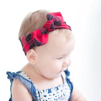 Baby Knot Headband, Baby Turban Headband, Baby Headwrap, Turban Headband, Toddler Knotted Headband, Baby Gift - Red and Black Buffalo Plaid