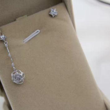 925 sterling silver star and rose pendant &zircon star asymmetry earrings E4901-0414 -Gifts box