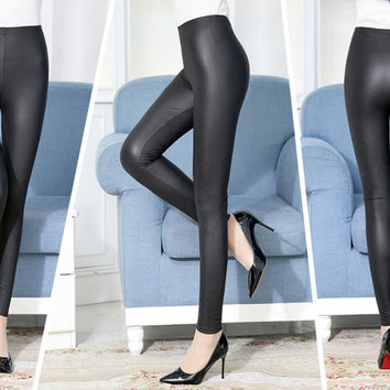Winter High Waist Plus Size Soft Cozy Stretchy Warm Fleece Shiny Leather Leggings [9632112591]