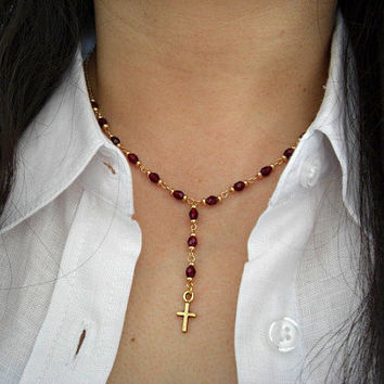 Tiny Gold Pewter Cross, Garnet Glass Faceted Beads, Gold Accents Necklace