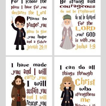 Harry Potter Christian Nursery Decor Set of 4 Prints with Dumbledore, Hagrid and Hermione