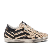 Golden Goose Superstar Sneaker in Gold Glitter Flag