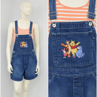 Vintage 90s Disney Blue Denim Short Overalls, Winnie the Pooh Appliques, Overall Shorts, Bib Overalls, Womens Shortalls