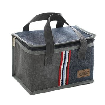 Denim Large Ice Cooler Bags Insulated Pack Drink Food Thermal Leisure Handbag Women's Kid's Picnic Pouch Lunch Box Accessories