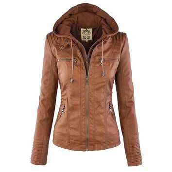 Gothic Faux Leather Jacket Women 2019 Khaki Winter Motorcycle Jacket Hoodies Outerwear Faux Leather PU Basic Jacket Coat