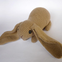 English lop bunny crocheted toy - beige