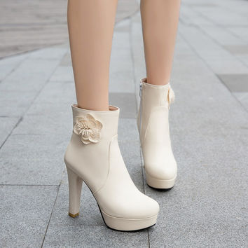 Flower High Heel Chunky Chelsea Boots 7505