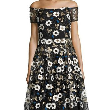 5Twelve Off-The-Shoulder Floral-Embroidered Dress, Black