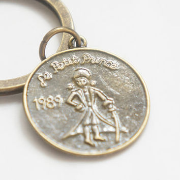 The Little Prince Coin Le Petit Prince - Antiqued Brass Vintage Style Key Ring