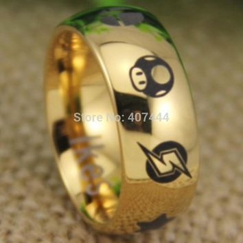 YGK JEWELRY Hot Sales Super Smash Bros Metroid//Mario Bros/Star/Fox/Zelda 8MM Tungsten RingKawaii Pokemon go  AT_89_9