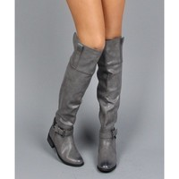 Olympia-05 Distressed Leatherette Buckle Over The Knee High Riding Boots GREY