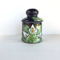 Vintage Talavera Style Canister, Vintage Mexican Pottery Floral Canister with Lid
