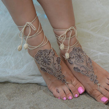 Cappuccino lace barefoot sandals, Crochet lace Barefoot Sandals, Nude shoes, Victorian Lace, Sexy, Yoga, Anklet , Bellydance, Beach Pool
