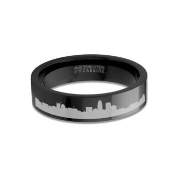 Charlotte City Skyline Cityscape Engraved Black Tungsten Ring