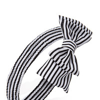 FOREVER 21 Striped Bow Headwrap Black/White One
