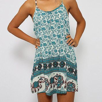Bohemian Elephant Print Strappy Mini Dress