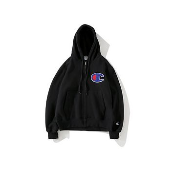 Champion Classic sentiment single men and women lovers' cap and velvet leisure hoodie jacket Black