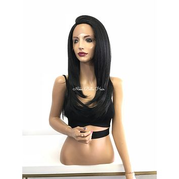 Black 4x4 Multi Parting Lace Front Wig - Princess 11813