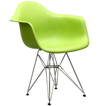 Paris Chromed Steel Base Dining Armchair Accent Chair in Green