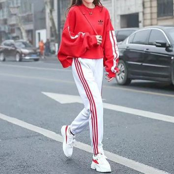 """Adidas"" Women Loose Casual Multicolor Stripe Bat Sleeve Long Sleeve Sweater Trousers Set Two-Piece Sportswear"