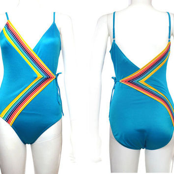 Vtg 70s 60s Blue Rainbow Striped Disco Bikini Festival Swimsuit S
