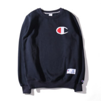 Champion Autumn and winter embroidery small lovers sweater plus velvet thickening Sapphire blue