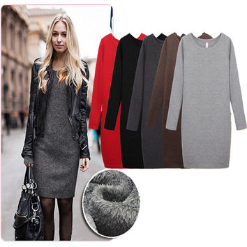Women Dress 2016 New winter Dresses Plus Size Sexy thicken Dress Vintage Office Bodycon Dress