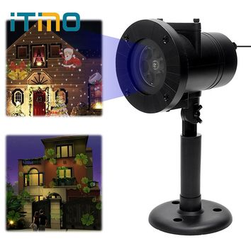 ITimo Christmas Laser Snowflake Projector Light Holiday Decoration 12 Patterns Home Garden Snow LED Stage Lamp Outdoor Lighting