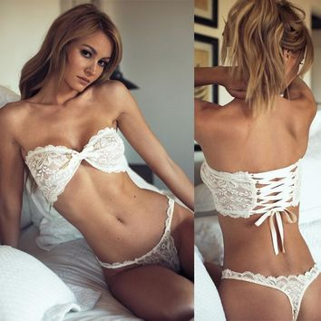 Sexy Bra Set Women Pure White Wedding Underwear Bandage Lingerie Lace Bras Underwear