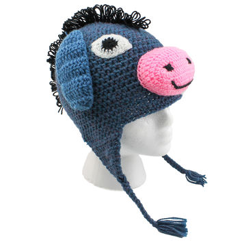 Donkey Beanie, Hand Knitted Animal Hats For Winter (unisex, one size fits all)