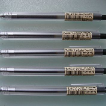 MUJI Japan Hexagon Clear Ball Point Pen Black 0.38mm 5 pcs