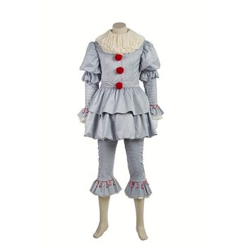 Stephen King's It Pennywise Cosplay Costume Adult Men Women Clown costume suit Custom made fancy Halloween Terror costume