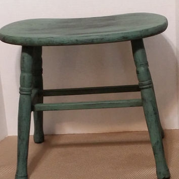 Vintage stool kidney shape side table plant stand accent table small furniture handmade distressed painted chippy paint
