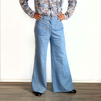 70's Vintage High Waisted Bell Bottom Jeans Sanforized Light Denim Button Fly Square Zip Pockets