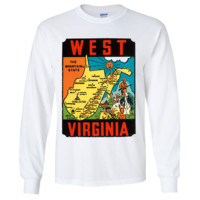 Vintage State Sticker West Virginia Long Sleeve Shirt