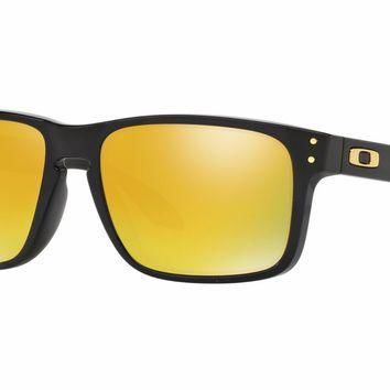 One-nice™ Authentic Oakley Holbrook (Asian Fit) Polished Black 24K Ir Sunglasses OO9244-20