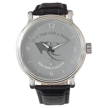Gray and white beer quote wristwatch