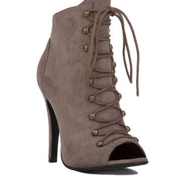 Lace Up Peep Toe Jordan Booties - Taupe Suede
